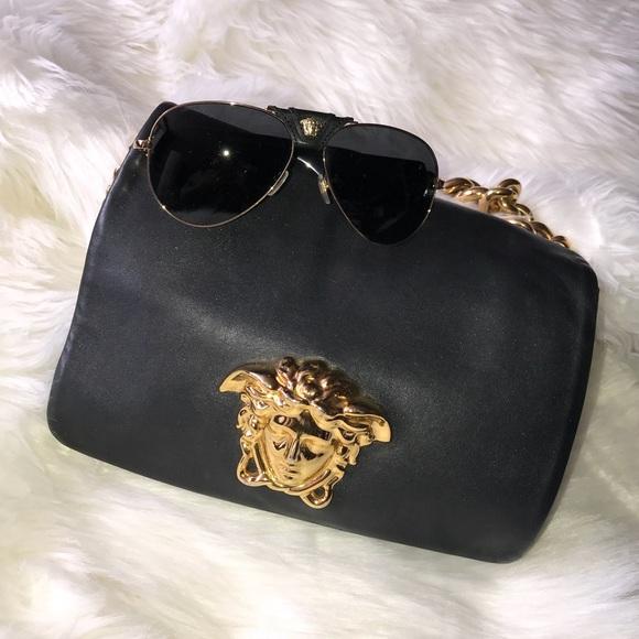 Versace Bags   Medusa Napa Black Leather Bag   Poshmark 595635ef27